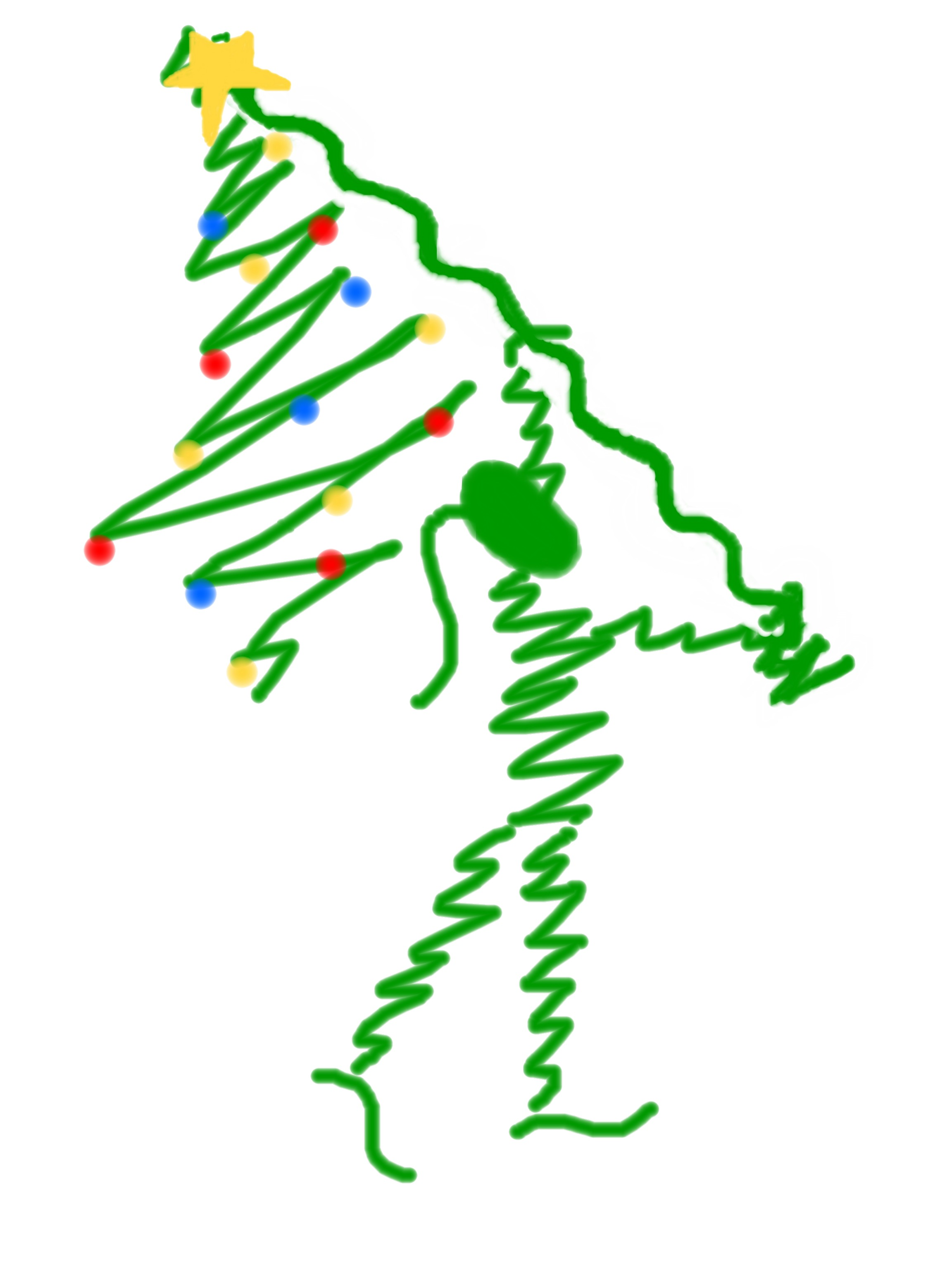 Christmas Scribble Flag Girl