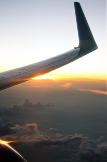 sunset as seen from an airplane