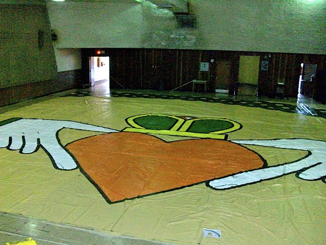 floor painted after being bulit from billboards